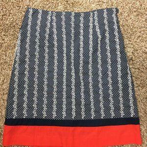 Talbots Cotton Eyelet Skirt Navy Blue  Red Sz 4P